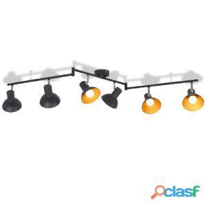 Lámpara de techo para 6 bombillas E27 negra y dorada