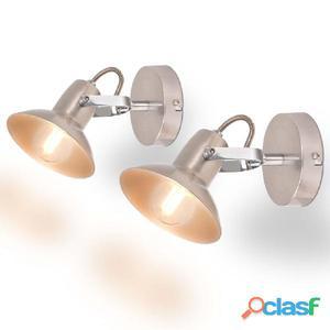 Lámparas de pared para 2 bombillas E14 plateadas unidades