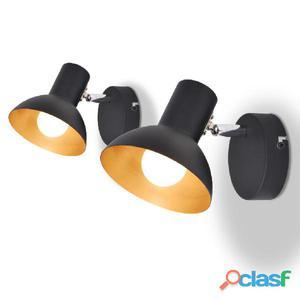 Lámparas de pared para 2 bombillas E27 negra dorada