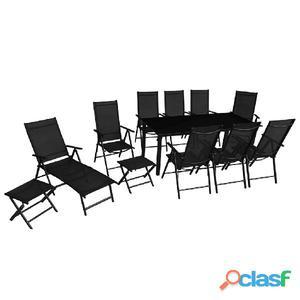Set de muebles jardín plegables 12 unidades aluminio negro