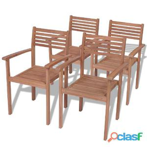 Mesa y 4 sillas teca posot class for Sillas de madera para exterior
