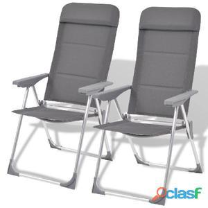 Sillas de camping aluminio 2 unidades gris 56x60x112 cm