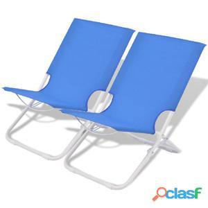 Sillas de camping/playa plegables acero azul 2 uds 48x60x62