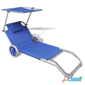 Tumbona de aluminio plegable con techo y ruedas, azul