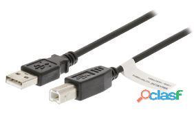 Valueline Cable usb 2.0 de a macho a b macho de 1,00 m negro