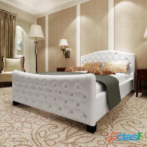 vidaX Cama de cuero artificial blanca con colchón 140x200