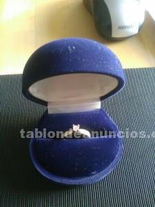 Anillo de compromiso en plata 925 con diamante de 0.1