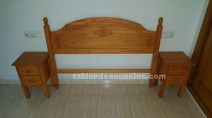 Cabezal de 135 cm de madera con mesitas