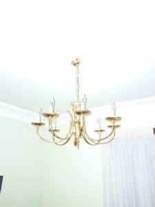 Lámpara de techo, dorada, 8 brazos