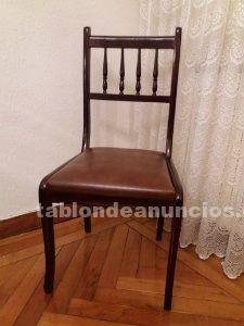 Lote de 6 sillas con asiento de polipiel en buen estado