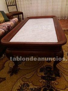 Mesa de madera maciza, clásica con encimera de marmol