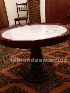 Mesa redonda con encimare de mármol de 0,65 diámetro y