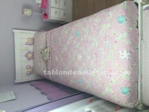 Dormitorio completo 2 camas somier cómoda mesilla bául