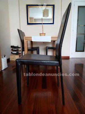 Vendo 4 sillas de cuero (color chocolate) semi nuevas