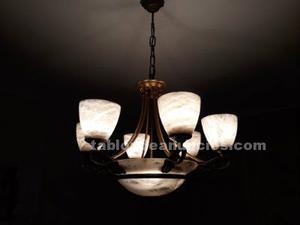 Lámpara bronce y alabastro