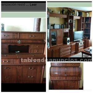 Mueble librería modular salón, mesa centro y bureau