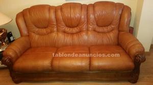 Sofa y sillones piel y madera