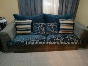 Sofá azul y gris (2,30m×1m)