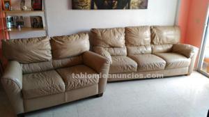 Muy confortables y elegantes, conjunto 3x2 piel beige
