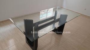 Mesa de cristal para salón (6 comensales).