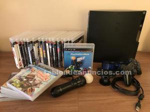 Playstation 3 con mas de 20 juegos, cámara eye, 2 mandos y