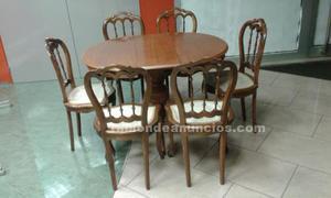 Conjunto de mesa y 6 sillas antiguos