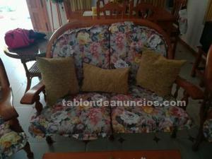 Gran oferta. Venta sofá y 2 sillones madera rústica miel