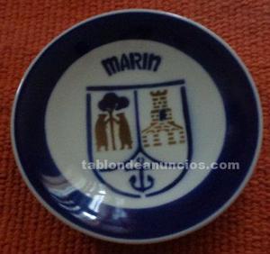Plato porcelana cerámica castro. Escudo marín