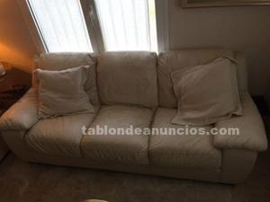 Sofa 3 plazas piel autentica beige muy buen estado