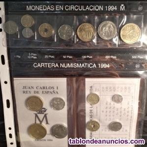 Vendo cartera y serie de monedas españa de