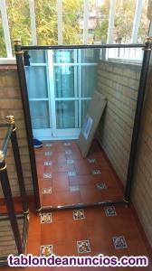 Mueble y espejo de entradita de forja gris