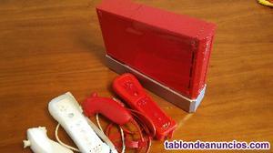 Consola wii roja + 2 mandos + 9 juegos