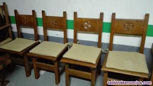 Conjunto comedor en madera de roble