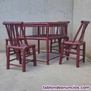 Silla y mesas caña