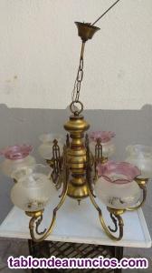 Lámpara de bronce 6 brazos con tulipas