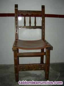 Vendo silla de madera maciza con asiento de cuero y