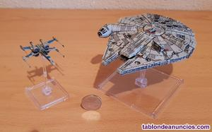 Miniaturas halcón milenario + ala-x (star wars vii)