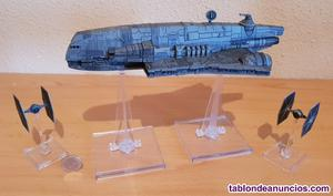 Miniaturas portacazas + cazas tie (star wars)