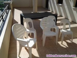 2sillones de jardin +3 sillas de jardin + 1 mesa