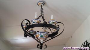 Lámpara de forja y ceramica
