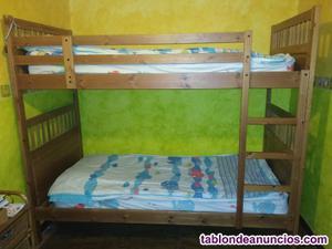 Se vende litera madera maciza convertible 2 camas