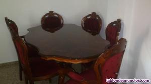 Vendo mesa con caoba de alto brillo con 6 sillas