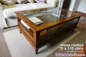 Vendo mesa baja de 70 x 110 estilo rústico