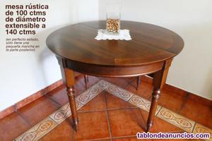 Vendo mesa rústica de 100 ctms extensible a 140 ctms