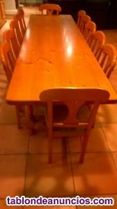 Se vende preciosa mesa de madera de 4 metros-16 personas