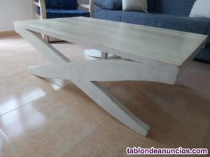 Mesa baja de madera color blanco
