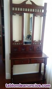 Mueble perchero entrada con espejo