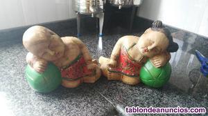 Vendo pareja figuras en madera maciza