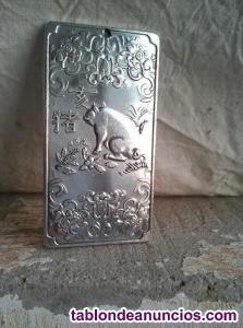 Genial lingote de plata tibetana con el signo del cerdo en
