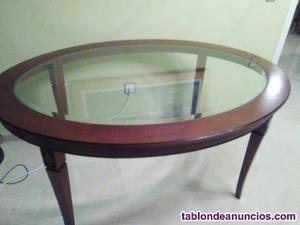 Mesa comedor cristal y madera